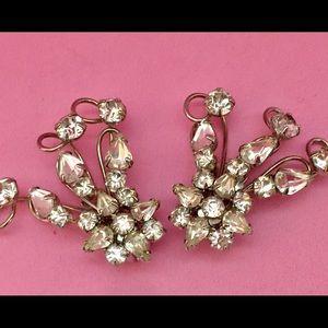 Jewelry - Vintage 50's Rhinestone Clip On Earrings